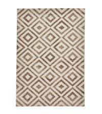 weicher, geometrisch gemusterter Ethno-Teppich, beige & cremefarben