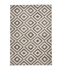 weicher, geometrisch gemusterter Ethno-Teppich, grau & cremeweiß
