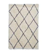 flauschig weicher Hochflorteppich im Skandi-Style mit grauem Rautenmuster, cremeweiß