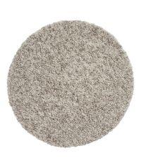 runder, weicher Hochflor Teppich, taupe