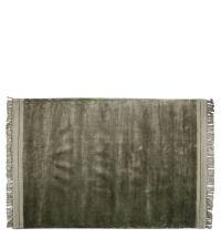 weicher Teppich mit breitem Fransenrand, olivgrün