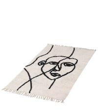flauschig weicher Hochfloor Teppich mit abstraktem Gesichts-Print & Fransen, grauweiß