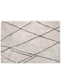 naturweißer Hochfloor-Teppich mit zarter schwarzer Musterung