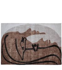 moderner Teppich im Line Art Style in Beige- und Brauntönen