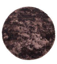 großer, runder Hochfloor-Teppich, braun