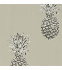 trendige Tapete mit Ananas-Print, Vliestapete Ananas beige