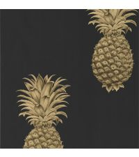 trendige Tapete mit Ananas-Print, Vliestapete Ananas metallisch gold & schwarz