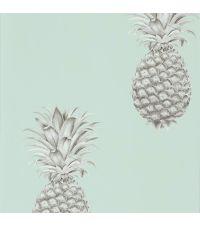 trendige Tapete mit Ananas-Print, Vliestapete Ananas mintgrün