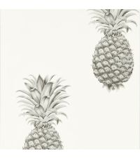 trendige Tapete mit Ananas-Print, Vliestapete Ananas silber & elfenbeinfarben