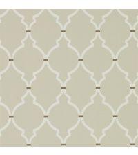Tapete mit geometrischem Trellis-Muster in Beige mit cremefarbenem Muster