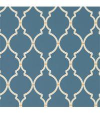 Tapete mit geometrischem Trellis-Muster in Dunkelblau mit cremefarbenem Muster