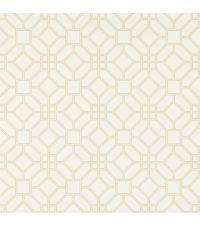 elegante Papiertapete mit Wabenmuster, Trellis-Tapete beige