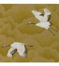 zarte Tapete mit goldenen Wolken und Vögeln, gold, schimmernd