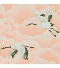 zarte Tapete mit rosa Wolken und Vögeln, gold, schimmernd