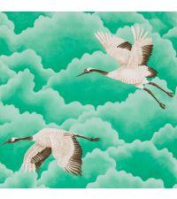 zarte Tapete mit türkisen Wolken und Vögeln, gold, schimmernd