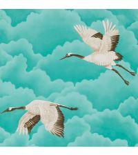 zarte Tapete mit blauen Wolken und Vögeln, gold, schimmernd