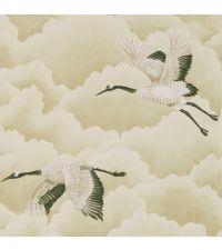 zarte Tapete mit cremefarbenen Wolken und Vögeln, gold, schimmernd
