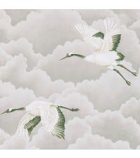 zarte Tapete mit silbernen Wolken und Vögeln, gold, schimmernd