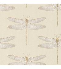 traumhafte Tapete mit zarten Libellen, perlmutt gold