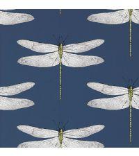 traumhafte Tapete mit zarten Libellen, dunkelblau