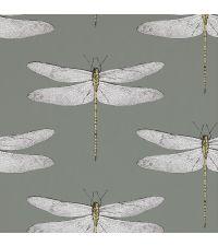 traumhafte Tapete mit zarten Libellen, grau