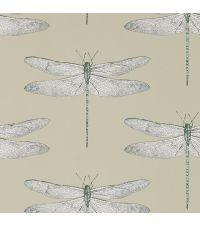traumhafte Tapete mit zarten Libellen, cremefarben