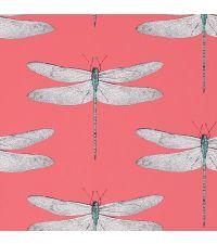 traumhafte Tapete mit zarten Libellen, korallfarben