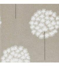 verspielte Tapete 'Pusteblume' Vliestapete mit schimmerndem Hintergrund in Faser-Optik, taupe & weiß