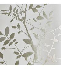 schimmernde Tapete mit Blattmuster, Hintergrund matt hellgrau mit metallischen Blättern gold