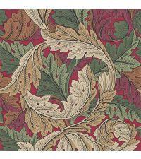 elegante weinrote Tapete mit kreisförmigem Blattmuster aus dunkelgrünen & beigen Blättern, Vliestapete