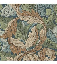 elegante grüne Tapete mit kreisförmigem Blattmuster aus dunkelgrünen & beigen Blättern, Vliestapete