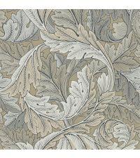 elegante beigegraue Tapete mit kreisförmigem Blattmuster aus beigen & taupefarbenen Blättern, Vliestapete