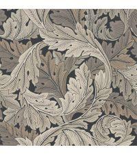 elegante Tapete mit kreisförmigem Blattmuster aus beigen & taupefarbenen Blättern auf anthrazitfarbenem Hintergrund, Vliestapete