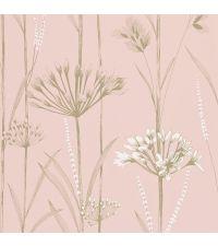 rosa Tapete mit Blumenmuster & Grashalmen mit metallisch goldenen Highlights