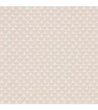 süße Vliestapete mit geometrischem Halbkreis-Muster in zartem Blush & Weiß