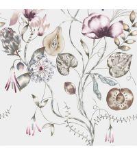 romantisches Wandbild, Tapete mit großem Blumenmuster & Ästen in taupe