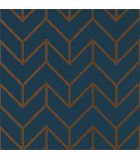 marineblaue Tapete mit goldenem geometrischen Muster, Vliestapete blau & gold