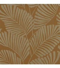 Vliestapete mit reflektierenden Palmenblättern auf mattem Hintergrund, cognacfarben