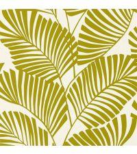 Vliestapete mit grünen Palmenblättern auf mattem Hintergrund, cognacfarben