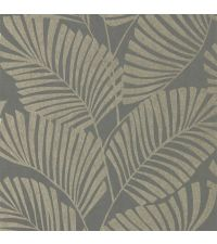 Vliestapete mit reflektierenden Palmenblättern auf mattem Hintergrund, grau