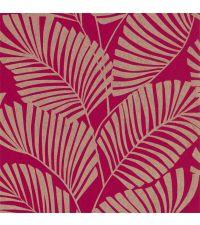 Vliestapete mit reflektierenden Palmenblättern auf mattem Hintergrund, magenta