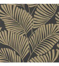 Vliestapete mit reflektierenden Palmenblättern auf mattem Hintergrund, schwarz