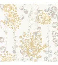 Vliestapete mit Meerespflanzen im Aquarell-Style in goldgelb, cremeweiß & mint