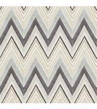 Vliestapete mit Zickzack-Muster aus zarten gemalten Linien von dunkelgrau bis beige