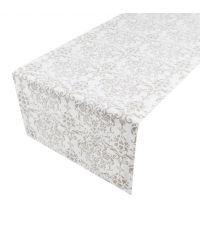 Baumwoll-Tischläufer in weiß mit Damast-Muster in taupe