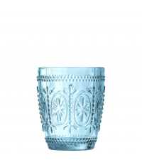 Trinkglas mit Blumenverzierung hellblau