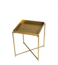 kleiner Beistelltisch mit goldenem Metalltablett und goldenen gekreuzten Tischbeinen