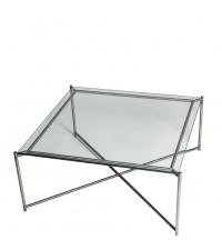 großer quadratischer Couchtisch mit Glasplatte und silber gekreuzten Tischbeinen