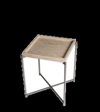 kleiner Beistelltisch mit Holztablett und gekreuzten Tischbeinen, Eiche