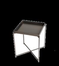 kleiner Beistelltisch mit Metalltablett und gekreuzten Tischbeinen, anthrazit